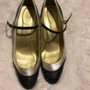 J Crew Black and Gold Mary Jane Pumps
